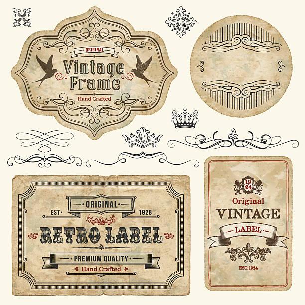 vintage labels - rustik stock illustrations