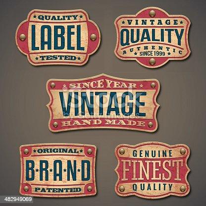 Set of detailed vintage, grunge labels.