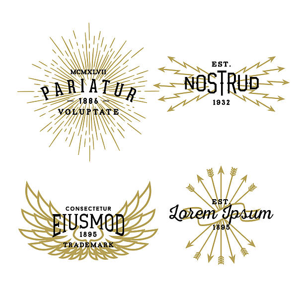 vintage labels - stars tattoos stock illustrations