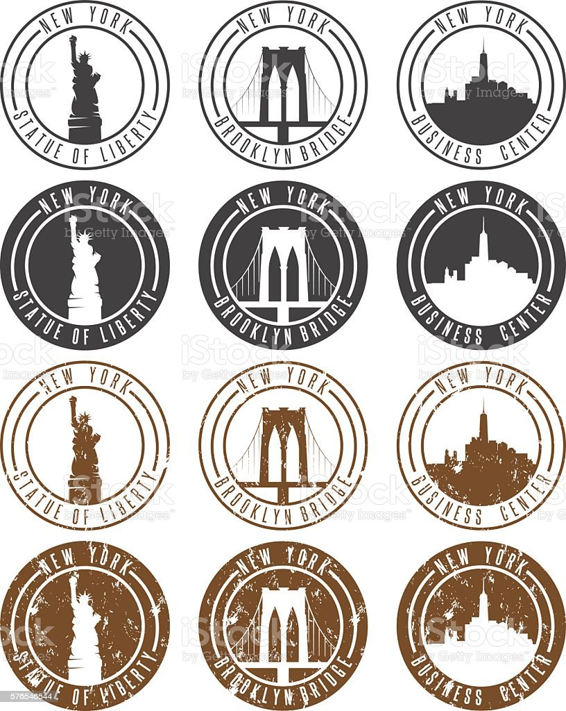 vintage labels vector set with landmarks of New York City vector art illustration