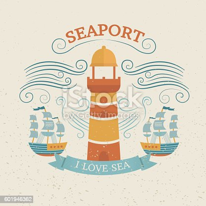 Vintage labels with lighthouse