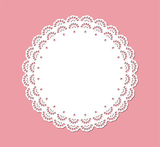 Vintage Lace Doily, Decorative Place Mat Design, Laser Cutting Template Lace doily and place mat design, paper cut out template invitational stock illustrations