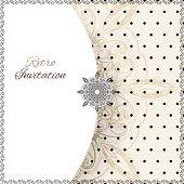 Vintage lace polka dots vector ornament card