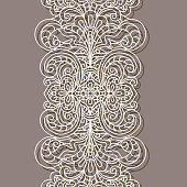 Vintage lace ribbon, wide border pattern, cutout paper decoration for greeting card or wedding invitation design