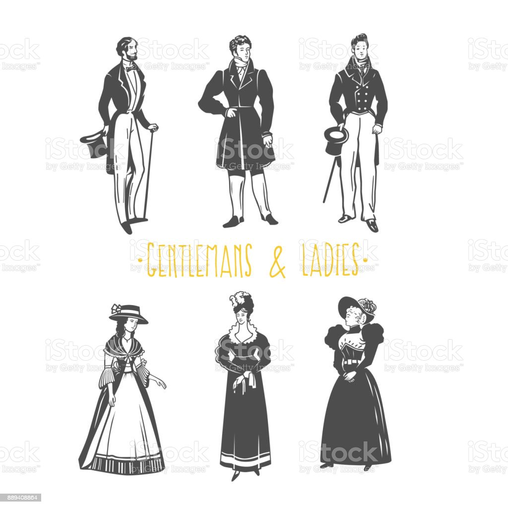 Vintage Damen und Herren Stil Illustration. – Vektorgrafik