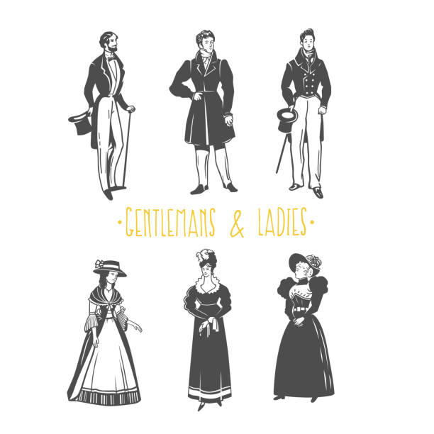 Vintage ladies and gentlemen style  illustration. vector art illustration