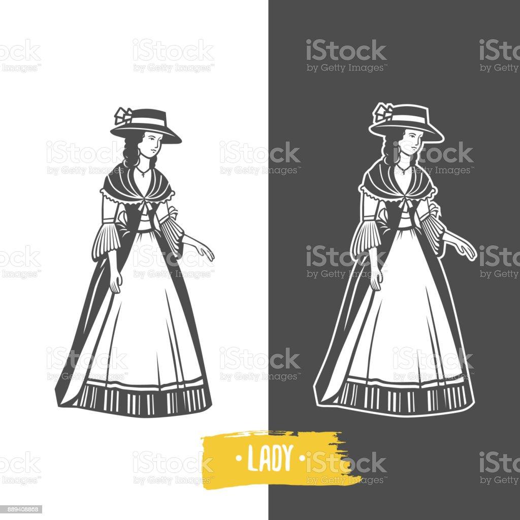 Vintage Damen Abbildung. – Vektorgrafik