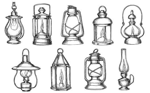 Vintage Lamp Hand Drawing Set