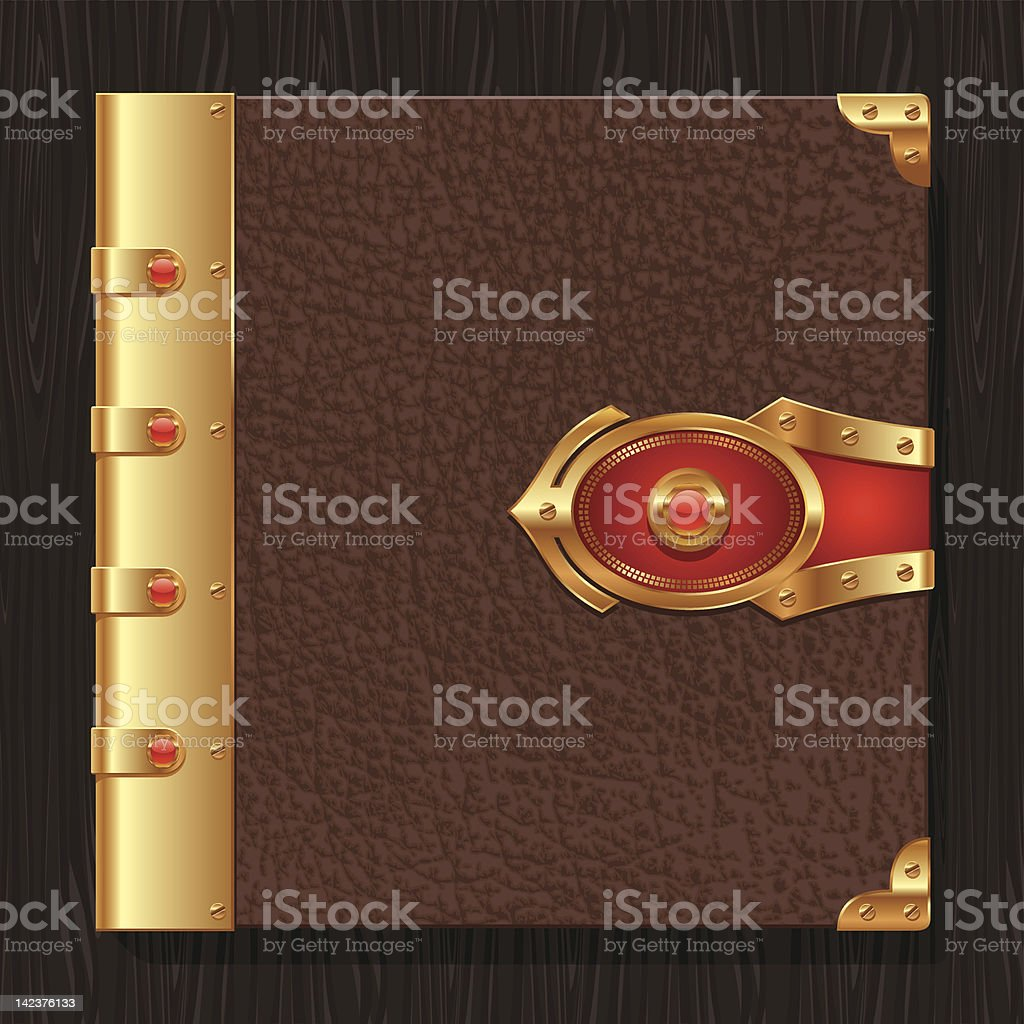 Vintage leather book hardcover royalty-free stock vector art