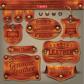 Vector illustration  in retro/vintage style of leather labels.