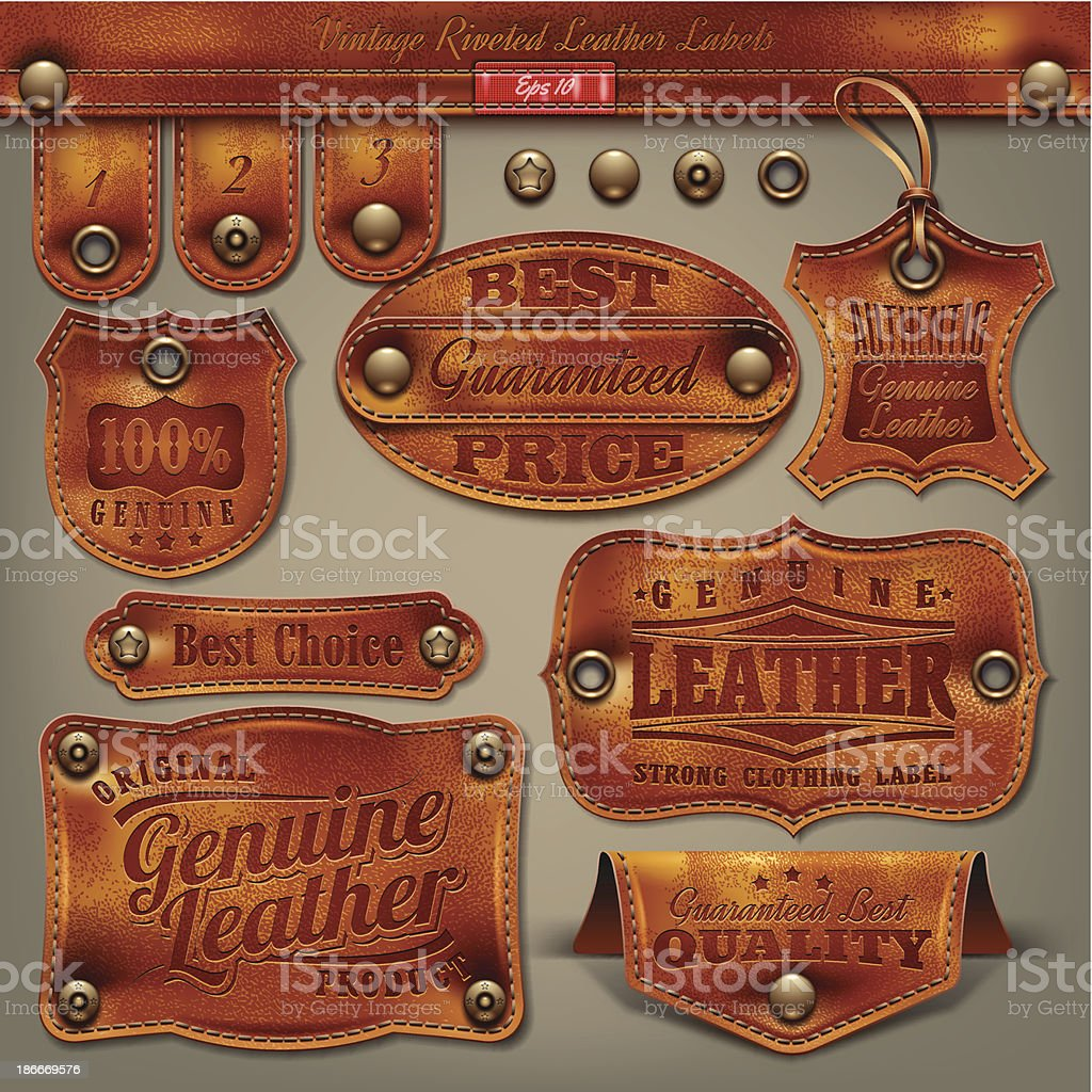 Vintage etiquetas de cuero - ilustración de arte vectorial