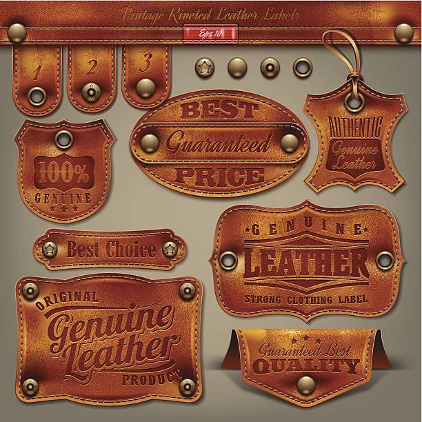 ilustraciones, imágenes clip art, dibujos animados e iconos de stock de vintage etiquetas de cuero - textura de pieles