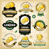 A collection of vintage styled lemon labels. EPS 10 file, layered & grouped, with meshes and transparencies (shadows & overall effects only).