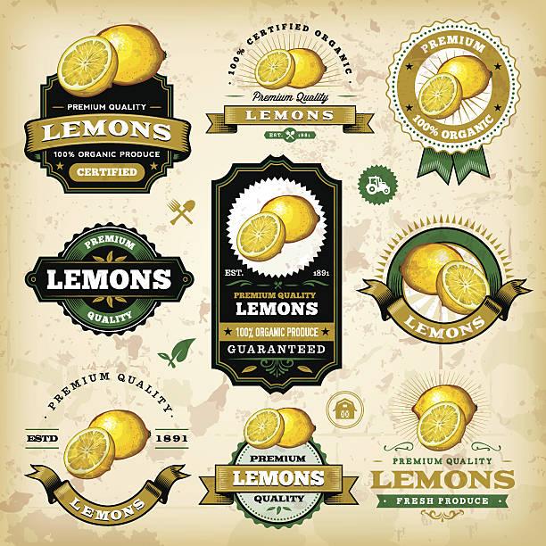ヴィンテージラベルのレモン - レモン点のイラスト素材/クリップアート素材/マンガ素材/アイコン素材