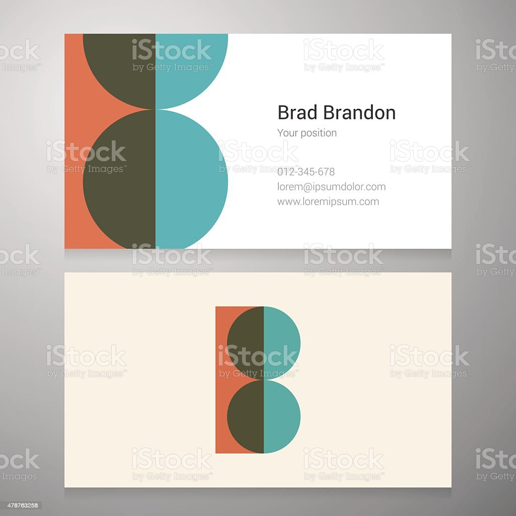 Vintage letter B icon business card template vector art illustration