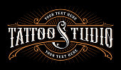 Vintage lettering of tattoo studio. icon template on dark background. Text is on the separate group.