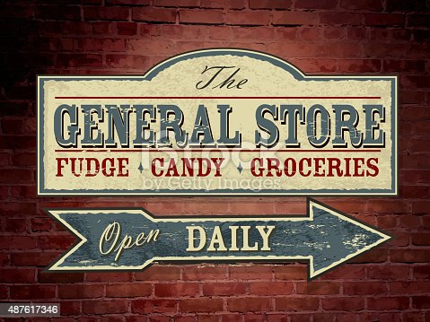 istock Vintage light blue wooden General Store signage on brick wall 487617346
