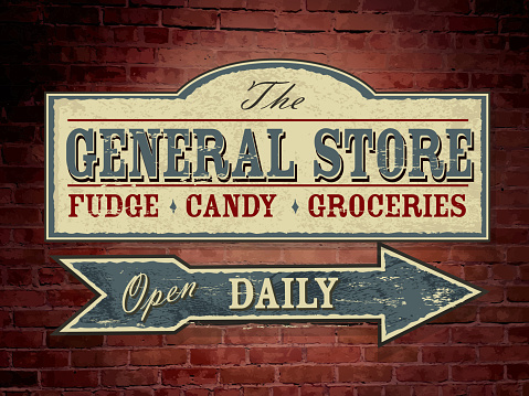 Vector illustration of a vintage, retro, old fashioned General Store wood sign hanging on a red brick wall. Light blue, cream and red color scheme. Antique Signage, with text design. Fudge, Candy, Groceries. Open daily. Old fashioned nostalgia, printable. Store, shopping, antique, old days. Wall signage. Fully editable and printable. Arrow design.