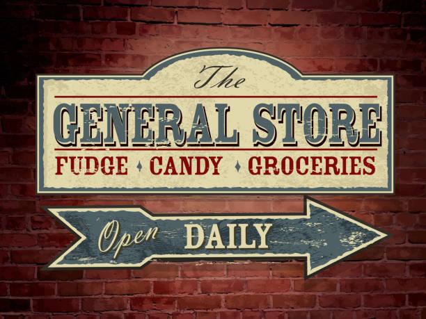stockillustraties, clipart, cartoons en iconen met vintage light blue wooden general store signage on brick wall - shop sign