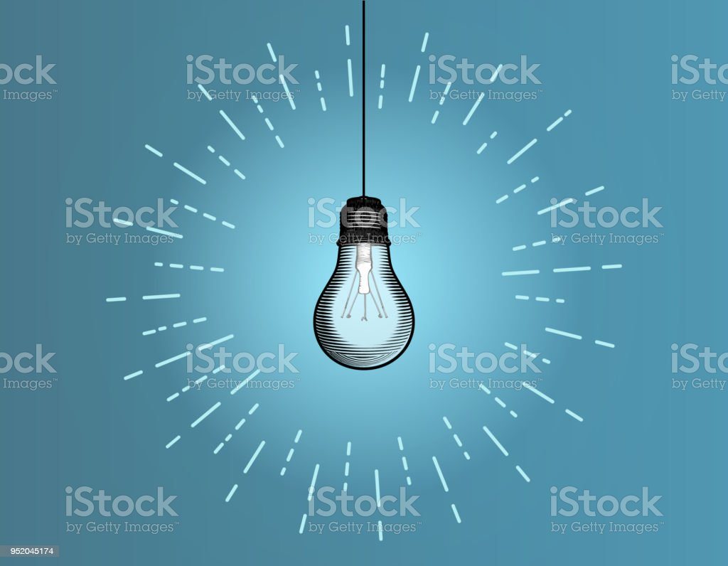 Vintage Light Bulb Illustration Isolated On Blue Bg Stock