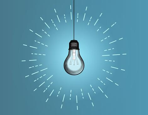 Vintage light bulb illustration isolated on blue BG