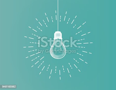 White line art light bulb illustration on green background with glowing starburst