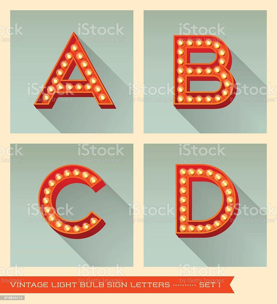 Vintage light bulb sign letters a, b, c, d. vector art illustration