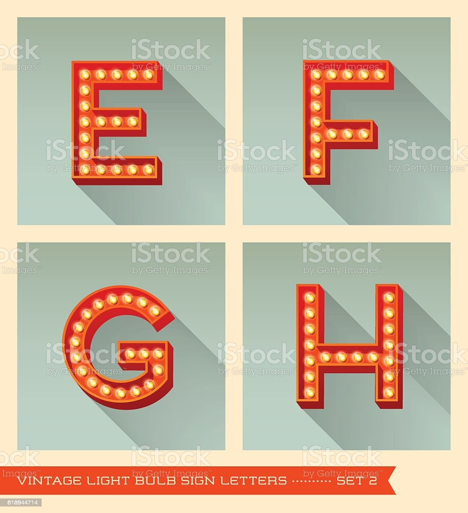 vintage light bulb sign letters e, f, g, h, vector art illustration