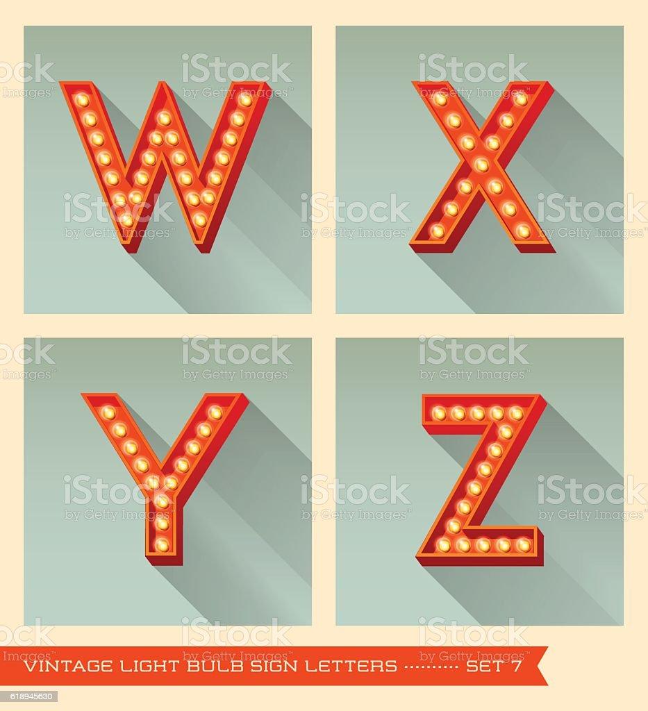Vintage light bulb sign letters w, x, y, z. vector art illustration