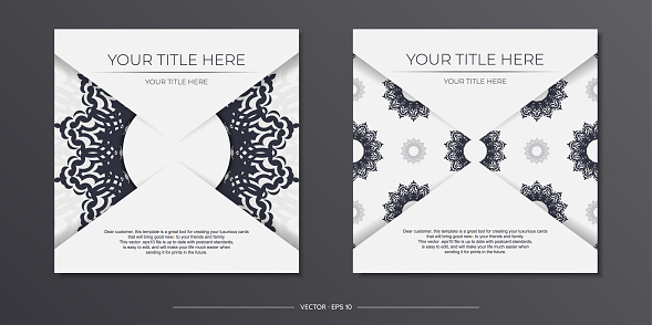 Vintage Light color postcard template with abstract ornament. Print-ready invitation design with mandala patterns.