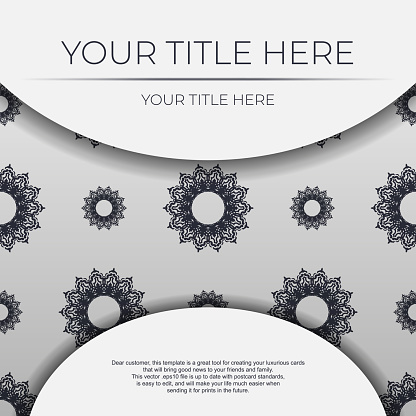 Vintage Light color postcard template with abstract patterns. Print-ready invitation design with mandala ornament.