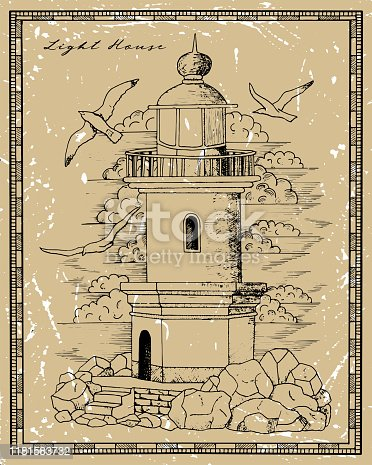 Vintage lighthouse tower with gulls in frame. Graphic engraved illustration in victorian style, nautical marine symbol, vintage background
