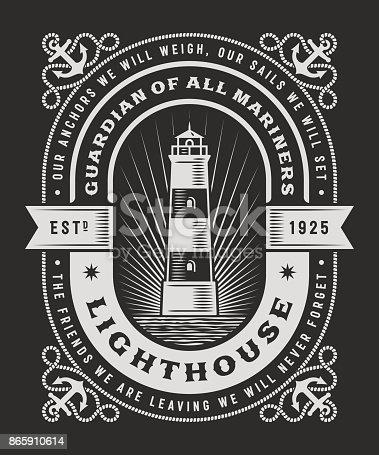 Vintage Lighthouse Typography On Black Background