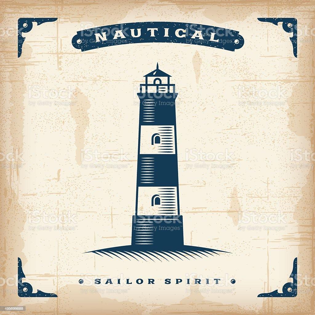 Vintage Lighthouse vector art illustration