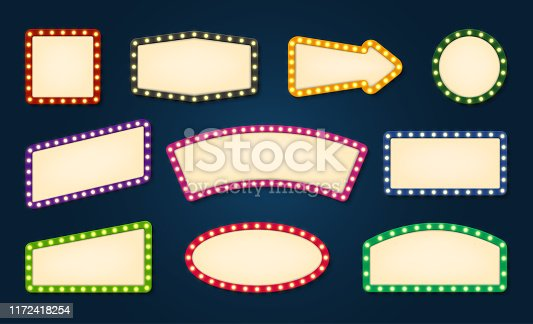 Vintage lights empty signboard vector templates set. Marquee lamps glowing frames with text space. Round, square, arrow shapes blank retro borders isolated layouts. Sings with illuminated lightbulbs