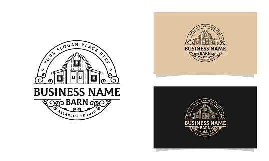 Vintage Line Art Barn / Farm Logo Design Template