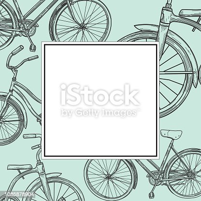 A simple frame with vintage looking line art bicycles, suitable for an ad template or promotion.