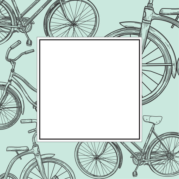 Vintage Line Art Bike Ad Template and Frame vector art illustration