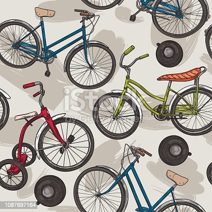 A funky seamless pattern of three different bikes and bike bells. Great for wallpaper, fabric, etc.