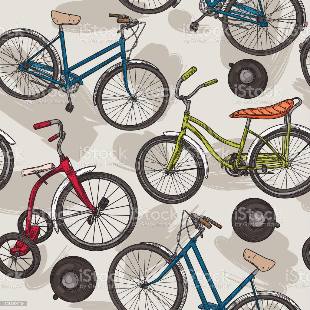 Vintage Line Art Bikes and Bells Pattern vector art illustration