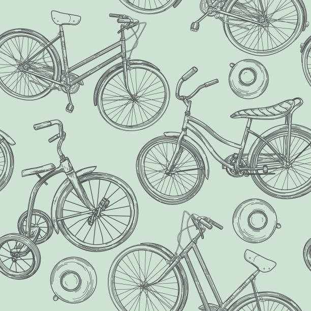Vintage Line Art Bikes and Bells Seamless Pattern vector art illustration