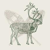 istock Vintage Line Art Caribou and Snowshoes Christmas Emblem 1281558265