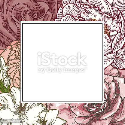 Some beautiful coloured line artwork florals, clipped into a square frame for your compositions. As a bonus, each flower head is a complete (grouped) illustration for your use.