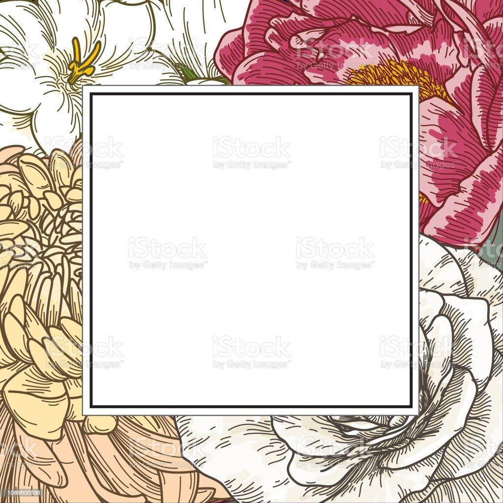 Vintage Line Art Floral Background vector art illustration