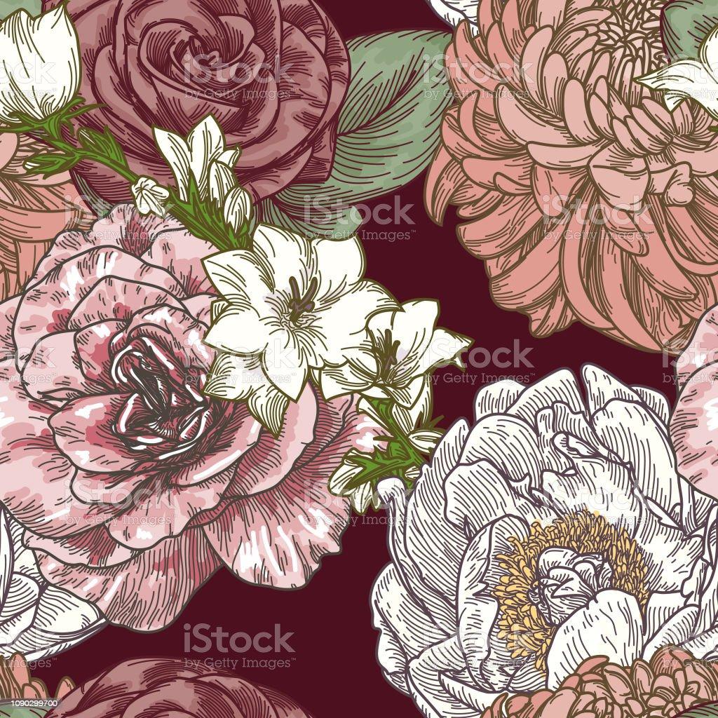 Vintage Line Art Seamless Floral Patterns vector art illustration