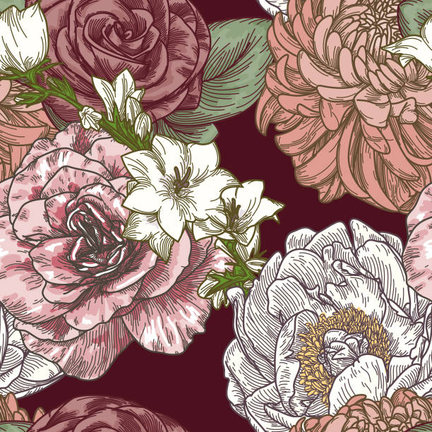 Vintage Line Art Seamless Floral Patterns vector art illustration