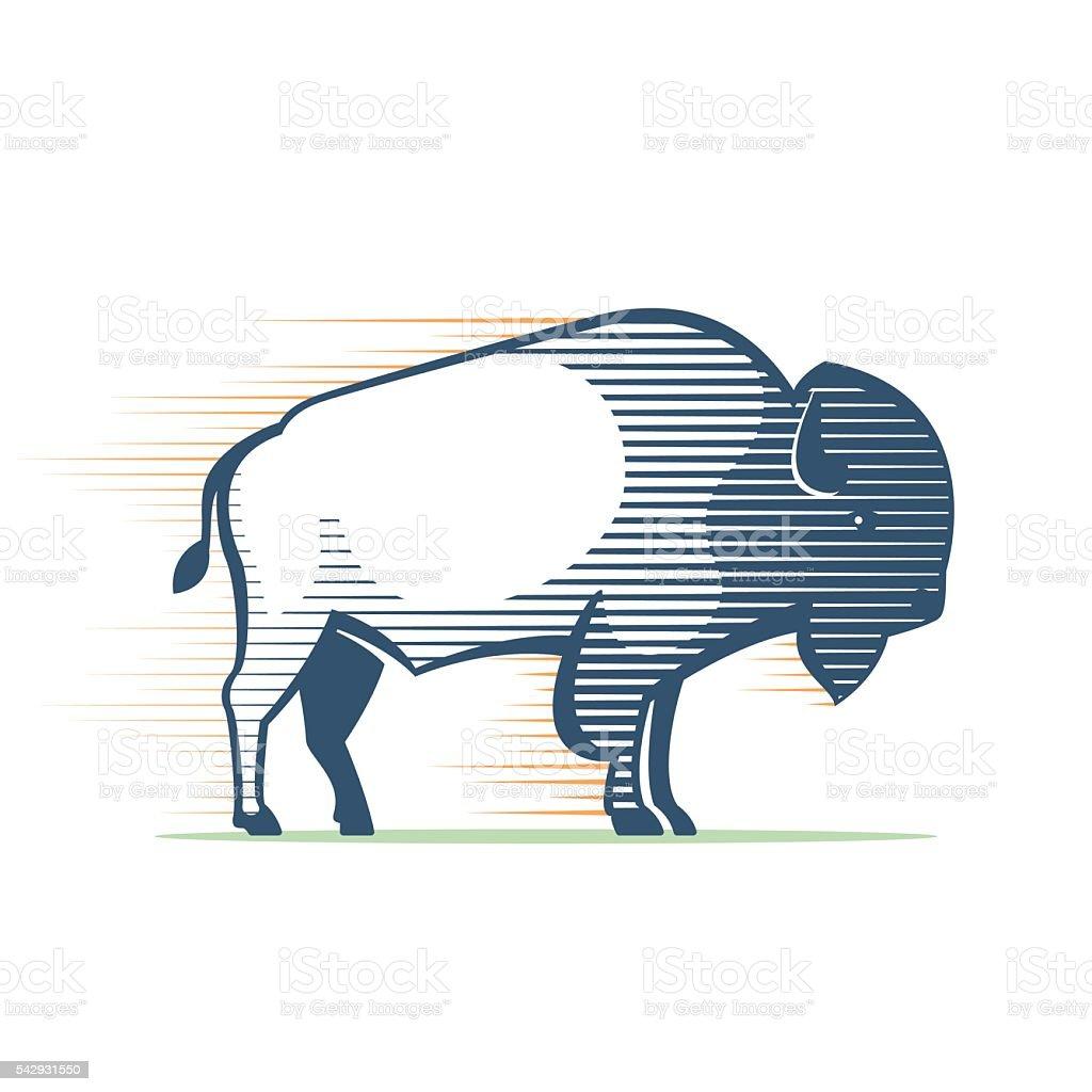 Vintage line Buffalo icon vector art illustration