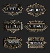 Vintage line frame design for labels and banner