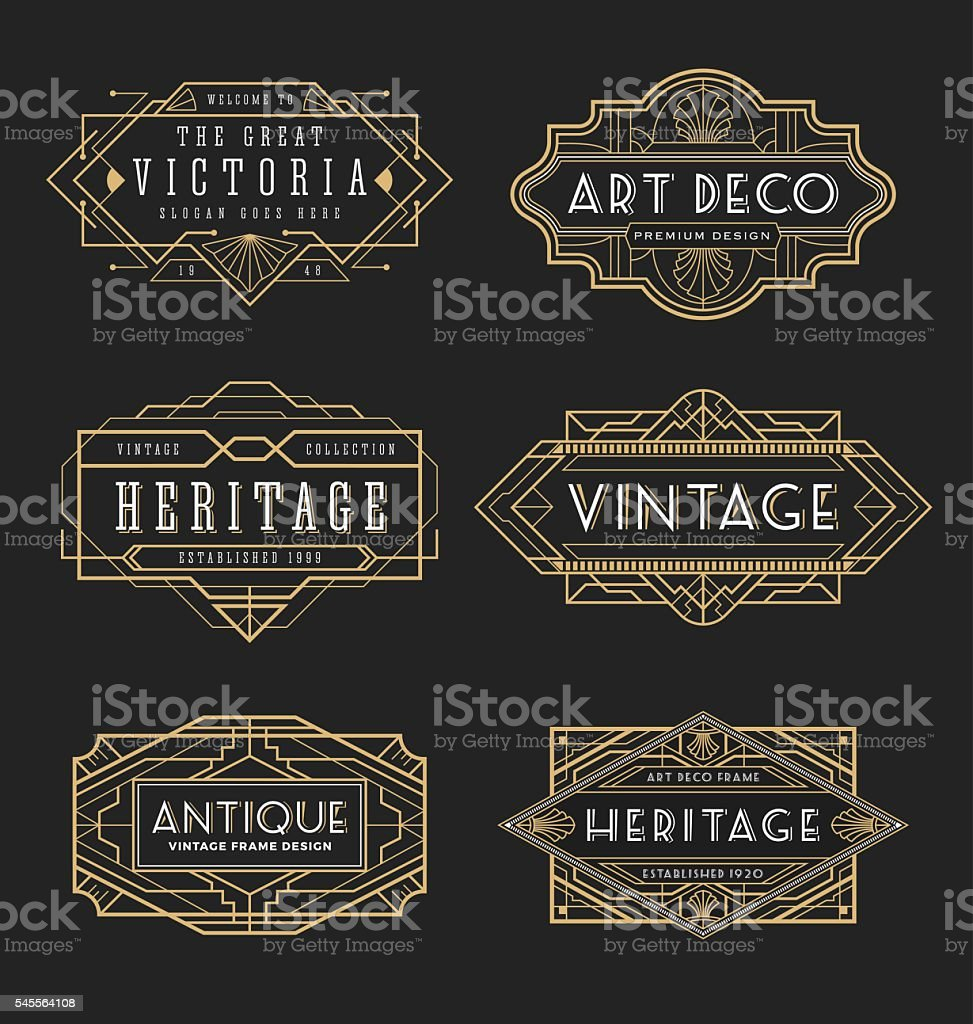 Vintage line frame design for labels and banner - ilustración de arte vectorial