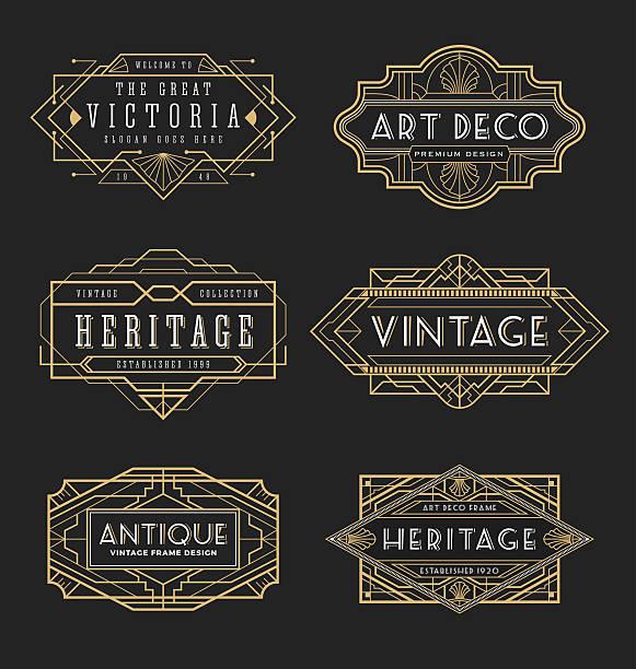 vintage line frame design for labels and banner - art deco stock illustrations, clip art, cartoons, & icons